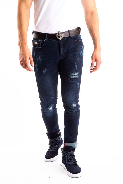 BARABAS Men's Distressed Ripped Blue Denim Jeans SN8878