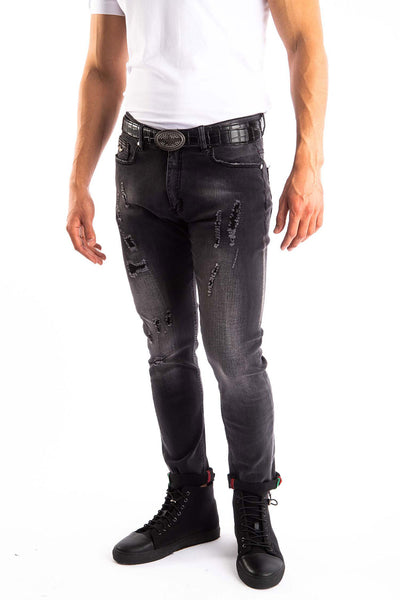 BARABAS Men's Distressed Ripped Black Denim Jeans SN8878