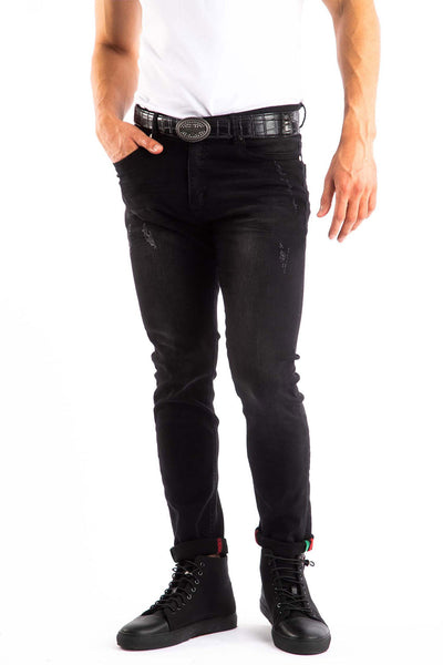 BARABAS Men's Distressed Black Denim Jeans SN8880