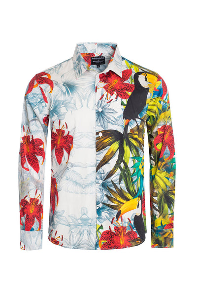 BARABAS Men's Floral Toucan Tiger Printed Luxury Dress Shirts SP203