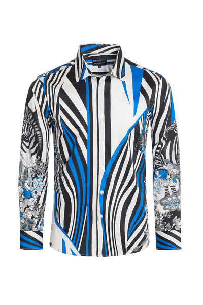 BARABAS Men's Floral Zebra Printed Multi Color Button Shirts SP206