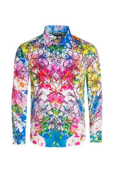 BARABAS Men's Watercolor Floral Printed Button-Down Shirts SP208