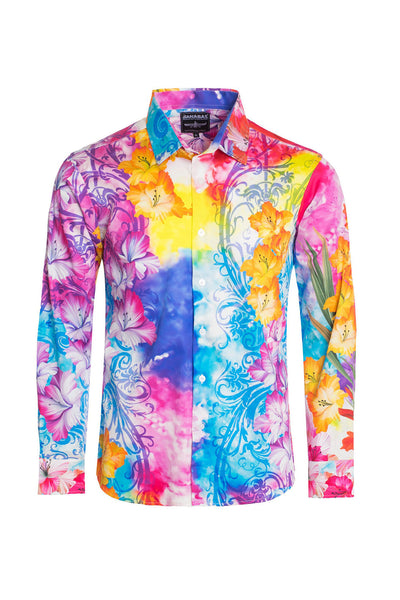 BARABAS Men's Watercolor Floral Printed Designer Dress Shirts SP210