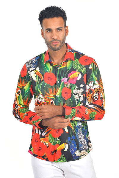 Barabas men multi color floral tiger toucan printed dress shirt SP212