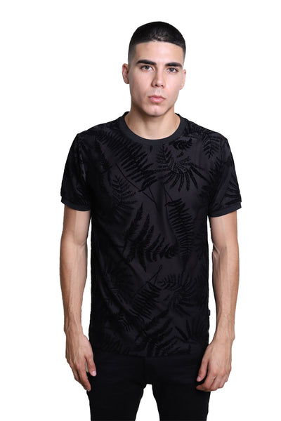 BARABAS men's leaf textured fabric crew neck black white T-Shirt SP505