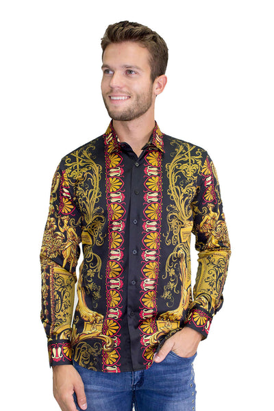 BARABAS Men's Orientalism Pattern Printed Black Button Down Shirts B965
