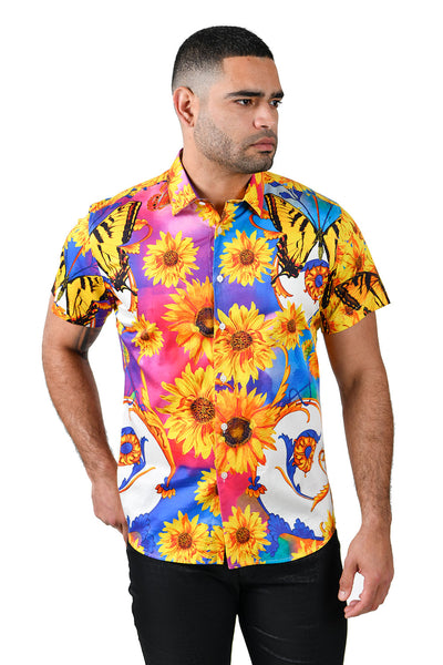 Barabas Men's Rhinestone Sunflower Butterfly Short Sleeve Shirts SSP21