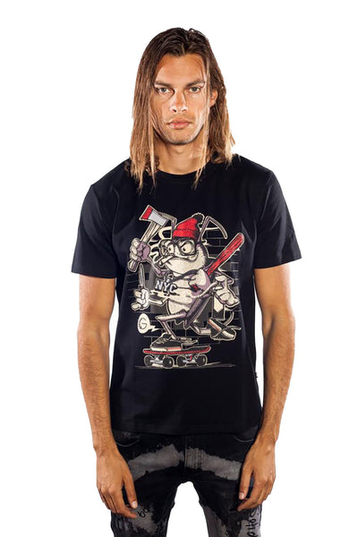 BARABAS Men's fighter frog anima graphic printed Black T-shirt TR515