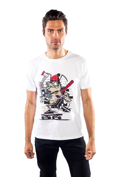 BARABAS Men's fighter frog anima graphic printed white T-shirt TR515