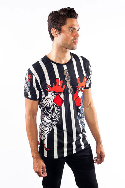 BARABAS Men's Stripped Animal Rooster Printed Crew neck T-shirt TR520
