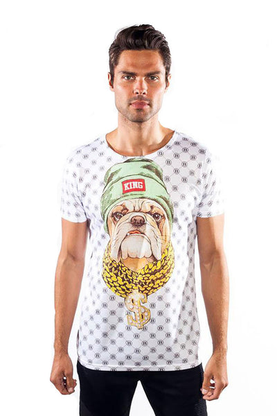 BARABAS Men's dog puppy prince graphic white T-shirt TS21