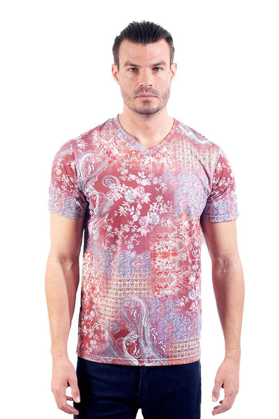 Barabas Men's Floral Printed Graphic Tee V-Neck T-Shirts TV202