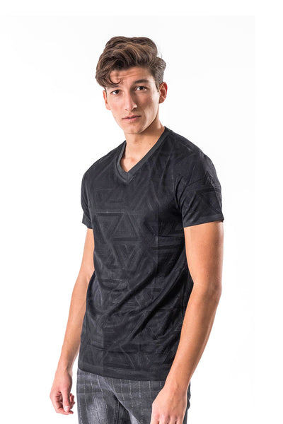BARABAS men's triangle textured black V neck T-shirts TV210
