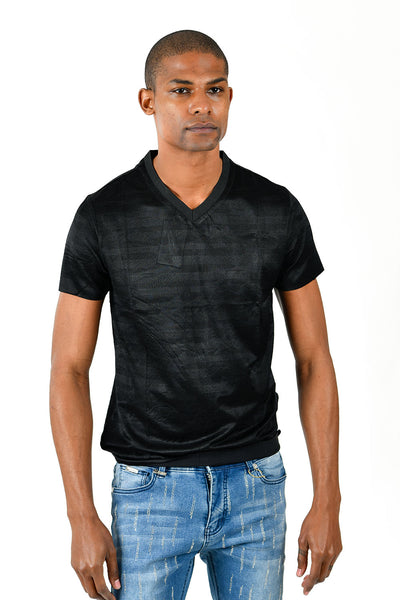 Barabas Men's Solid Color Black Graphic Tee V-Neck T-Shirts TV213