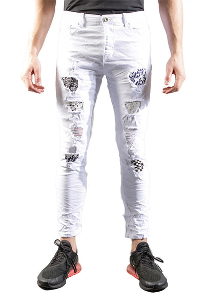 BARABAS Men Jeans Wipe Out V5012 White