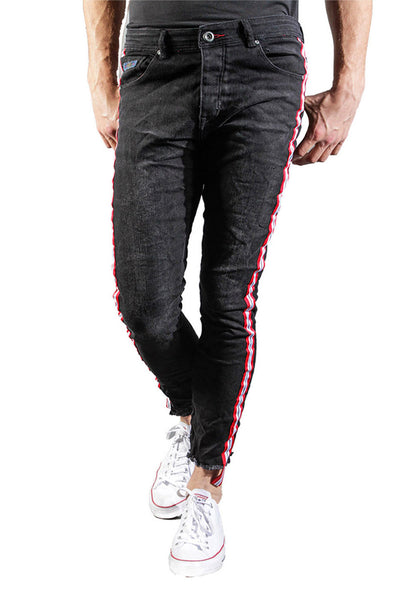 BARABAS Men Jeans Side Stripe V5015 Black
