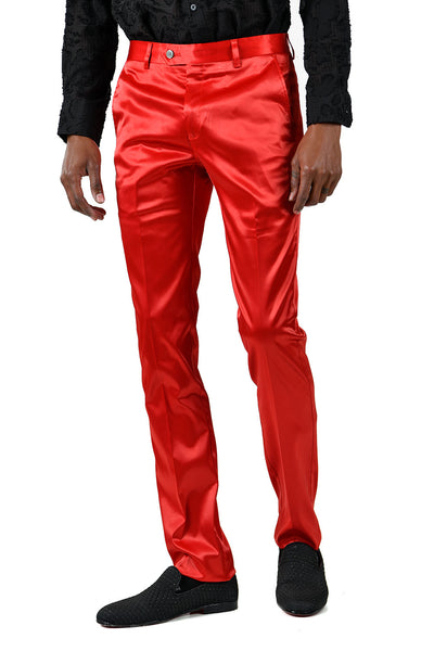 BARABAS Men's Solid Color Shiny Red Chino Pants VP1010