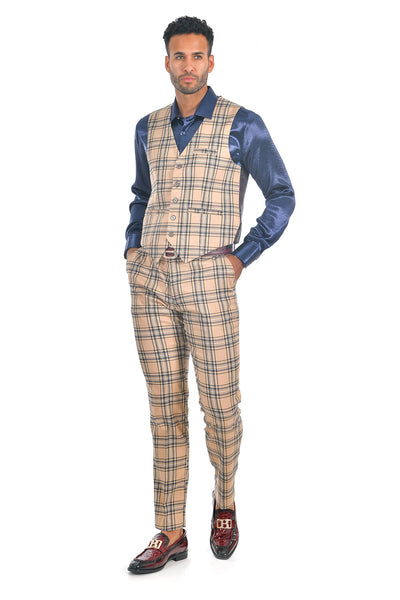 BARABAS men's checkered plaid cream black dress vest VP60