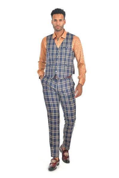 BARABAS men's checkered plaid navy beige dress vest VP61