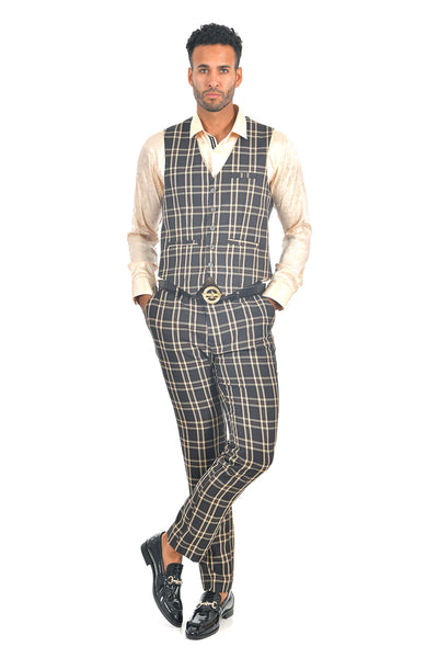BARABAS men's checkered plaid black gold dress vest VP62