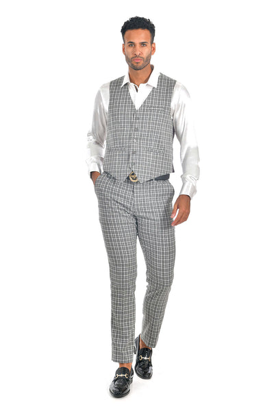 BARABAS men's checkered plaid grey white dress vest VP63