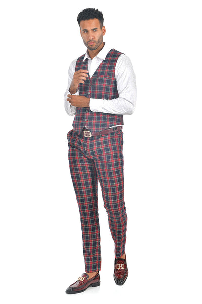 BARABAS men's checkered plaid cream navy red vest VP67