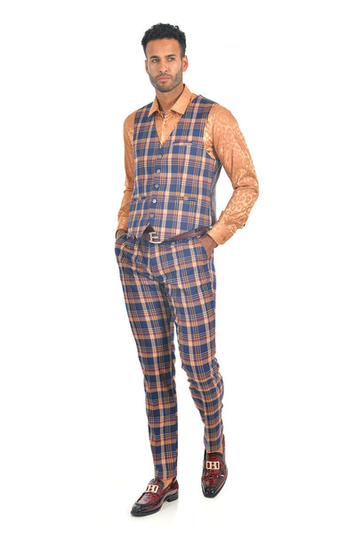 BARABAS men's checkered plaid navy orange dress vest VP72
