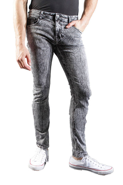 BARABAS Men's Light Wash Grey Black Wrinkle Denim Jeans VS5001
