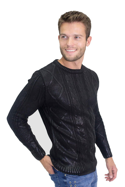BARABAS men strip knit black sweater W125