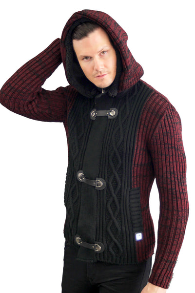 BARABAS MEN knit hooded button closure black wine red Sweater WZ250