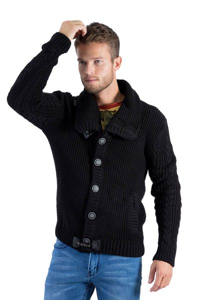 Barabas Men's  Neck wrap Front Buttons and Fastenings Knit Sweater WZ256