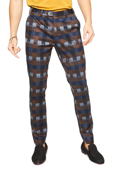 BARABAS men's checkered plaid navy brown chino pants CP36