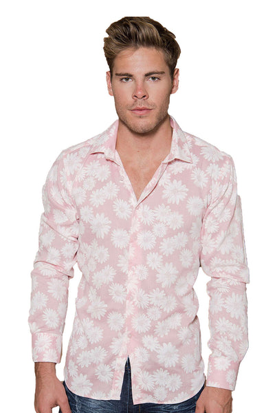 BARABAS men's floral blossom printed pink button down dress shirts B8513