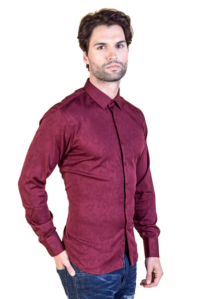 BARABAS men's textured orientalism pattern wine button down shirts B8525