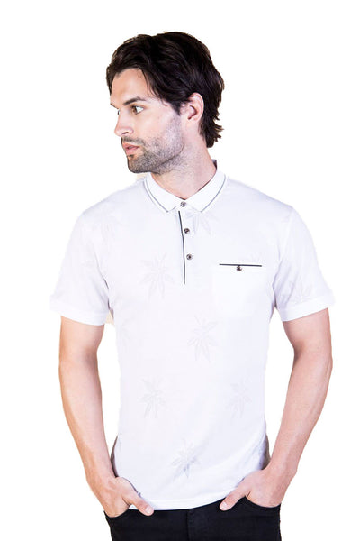 BARABAS Men floral leaf texture white polo Shirts JQF001