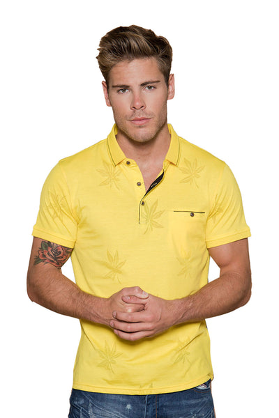 BARABAS Men floral leaf texture yellow polo Shirts JQF001