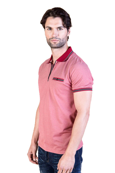 BARABAS Men's Heather Red Printed Polo Shirts PP005