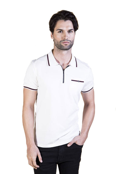 BARABAS Men's Heather White Printed Polo Shirts PP005