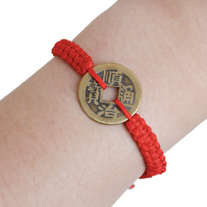 Unisex Kabbalah Red String Bracelets Antique Bronze Copper Cash Coin