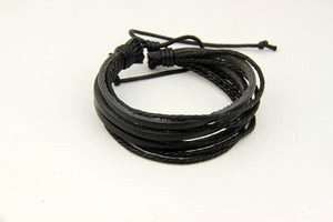 Wrap Genuine Leather Bracelet Braided Rope Unisex