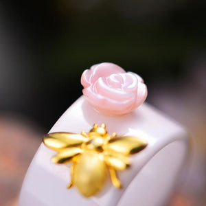 Rose Flower and Bee Ring