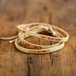 Bohemian Stone Leather Wrap Bracelet