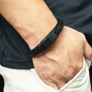 Braided Handmade Black Leather Bracelet