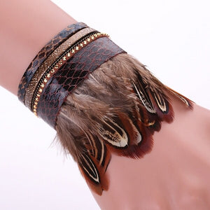 Adjustable Leather/Tassel/Feather Bracelet