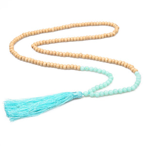 Long Necklaces Wooden Beads and Natural Stones