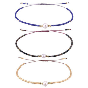 KELITCH Handmade Adjustable Pearl Beaded Friendship Bracelet 3pcs/set