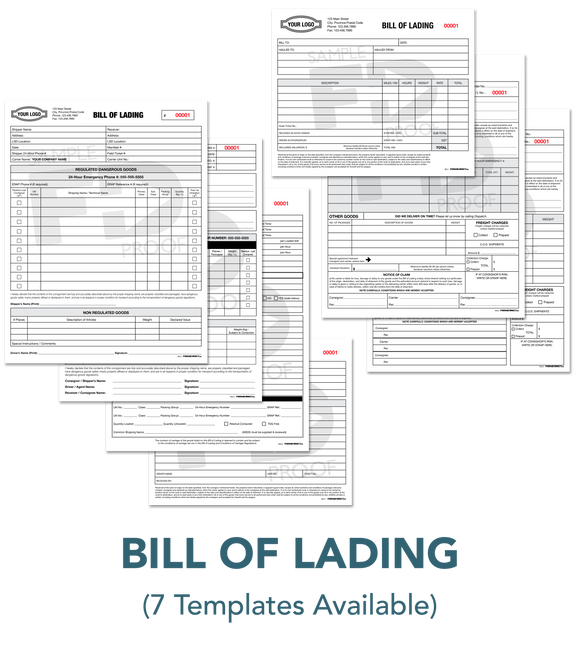 Bill of Lading BOL Custom Form Template Forms Direct