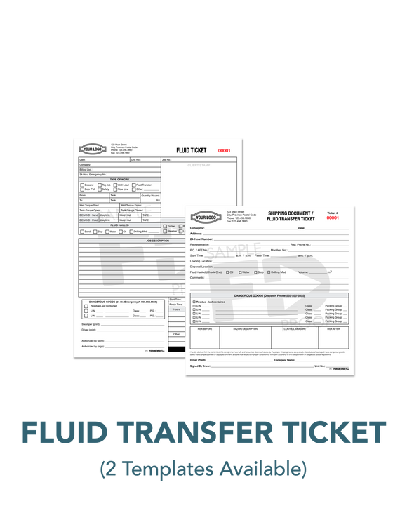 Fluid Transfer Ticket Custom Template