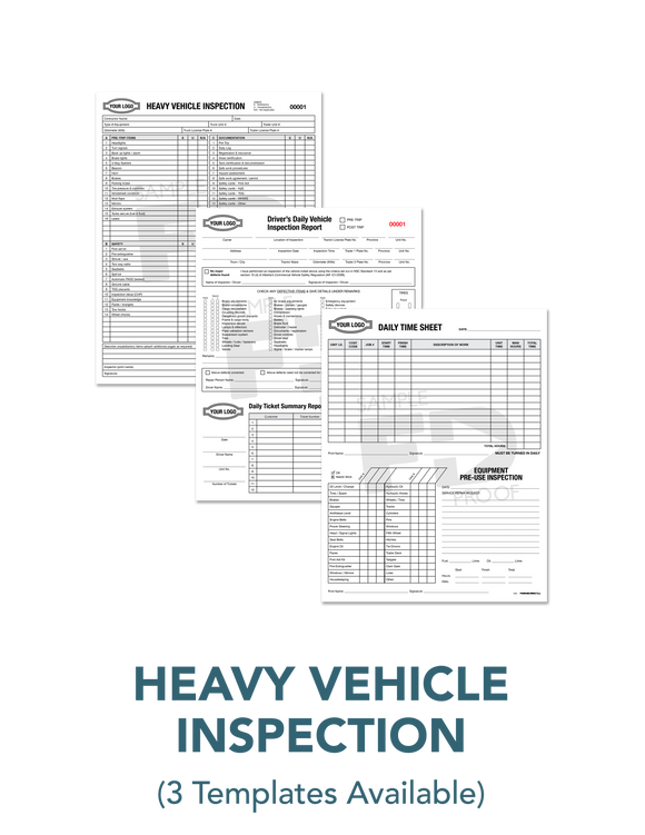 Heavy Vehicle Inspection Report Time Sheet