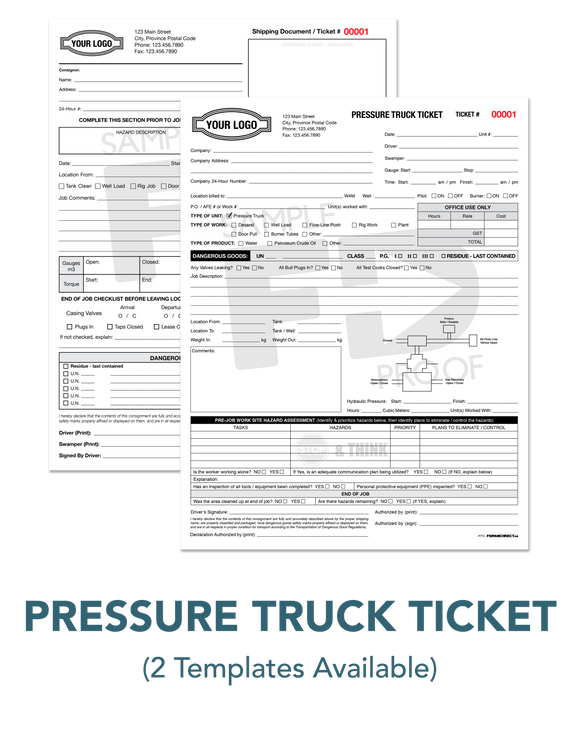 Pressure Truck Work Ticket Oilfield Form